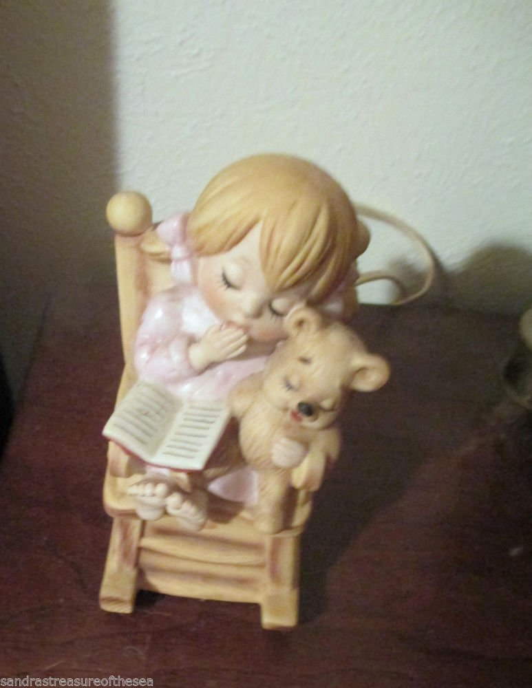 Porcelain Lefton Night Light Of A Little Girl With Book and Teddy Bear