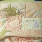 Spring Maid Standard Crib Bumper and Appliqued Quilt Pinks Baby Bunnies So Cute