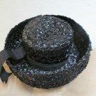 Ladies Vintage Black Straw Breton Hat Stylish Wide Brim Movie Star Vogue