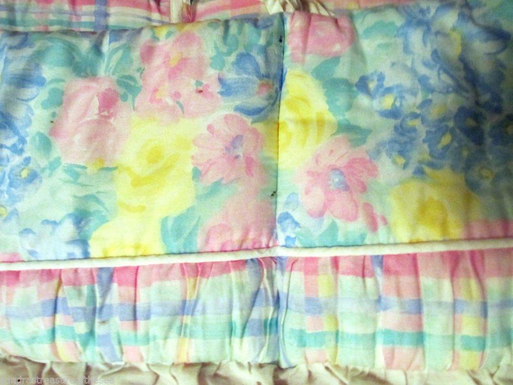 Kids Line Crib Bumper Pad Soft Floral  Reverse to Plaid White Eyelet Ruffle