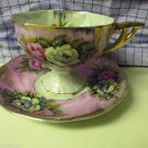 Collectible Porcelain  Cup and Saucer Delicate Floral Pink Lusterware Japan