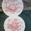 Two Pcs Royal Doulton The Kirkwood Red White Dinner and Salad Plate 1950 to 63