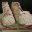 Tiny Titan White Hard Sole Vintage 1940s Baby Shoes Pink Laces In Box W Date