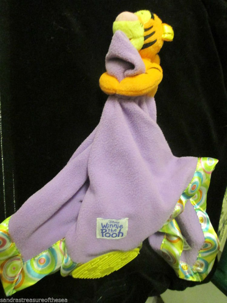 Disney Baby Winnie the Pooh Purple Tigger Satin Swirl Baby Security Blanket