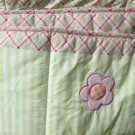 Crib Bumper Set Baby Connection Applique Ladybug Green Stripes Pink Green Plaid