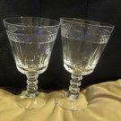 Two Water Goblets Diamond Band Vertical Cuts Polygon Multi Ball Stem Brilliant