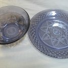 Cris D'arques Durand Antique Pattern Amethyst Color Salad Bowl and Salad Plate