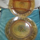 2 Tiara Indiana Amber Glass 12 In Serving Platters Sandwich Cake  Divided Relish