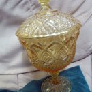 Large Tall Yellow Glass Compote Pineapple Star Quilted Diamond Pattern Perfect
