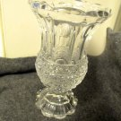 Footed Glass Celery Vase Scallop Rim Panel Thumbprint Diamond Floral Bands Vintg