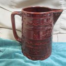Vintage MarCrest Large Heavy Brown Water Pitcher 64 oz Daisy Dot Wavy Line MCR2