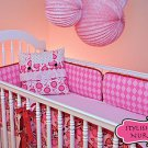 Four Pc Stylish Baby Nursery Crib Bumper Sheep on Pink Gingham Checked Material
