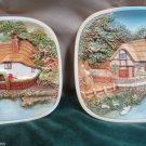 Two Vintage Chalkware Raised Relief Country Scene Cottage Legend Product Plaques