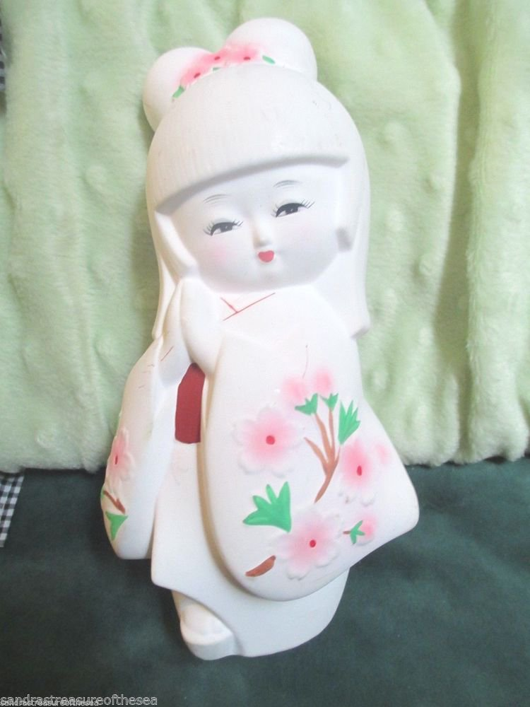 Japanese Ceramic Bisque Adorable Girl in Kimono Hand Painted Cute Hakata Ningyo