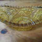 Vintage Amber Oval Bowl Starburst Pattern Sawtooth Edge 7 1/4 Inches Banana Boat