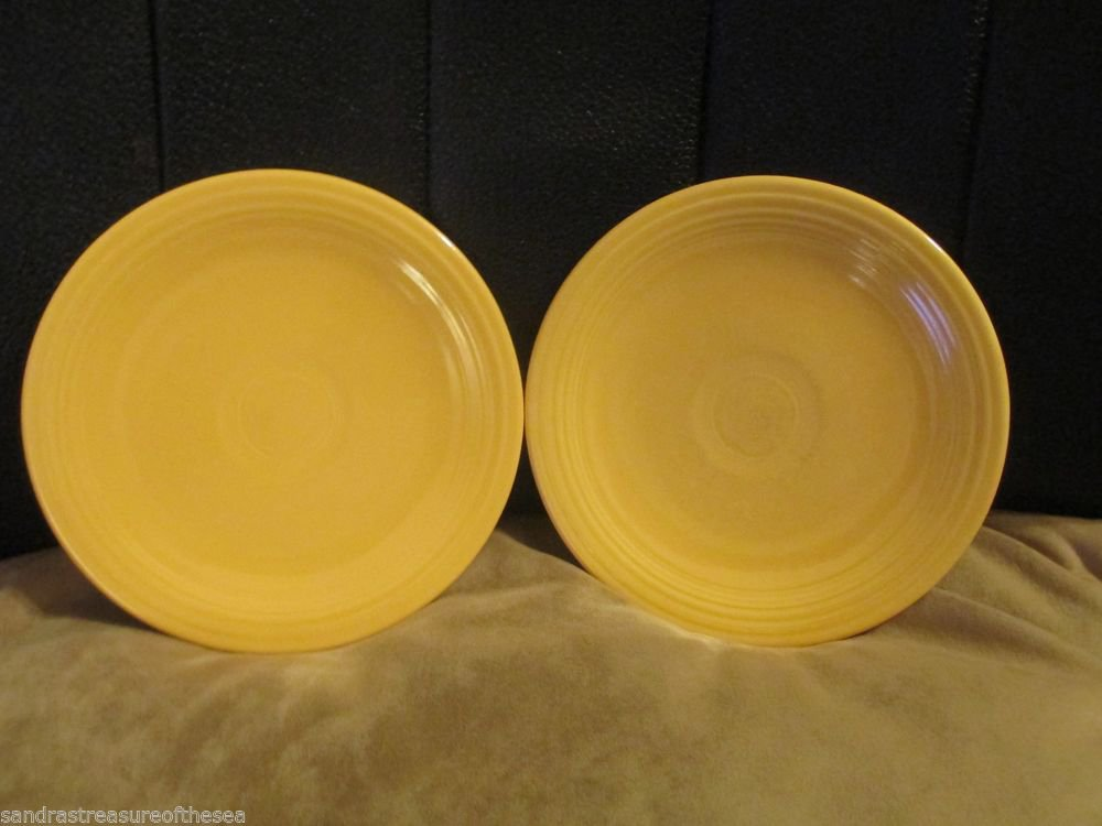 Two Vintage Homer Laughlin HLC USA Fiesta Ware Yellow Bread and Butter Plates
