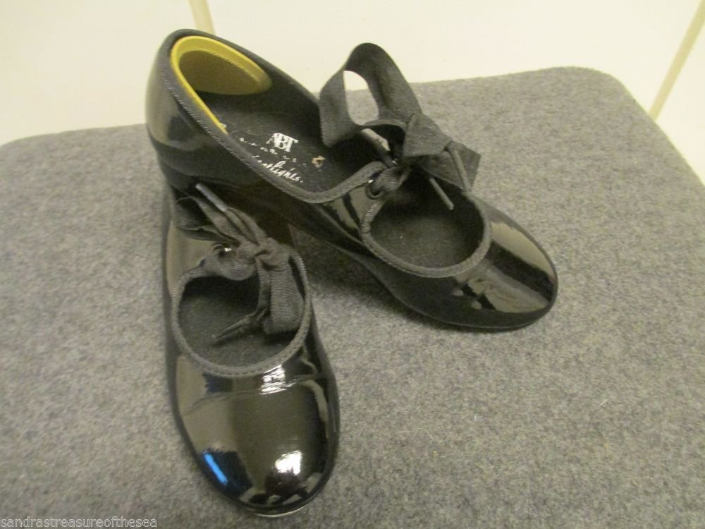 Girls ABT Spotlights Black Patent Tap Dance Shoe Tap Jazz Group Dance Class 12.5
