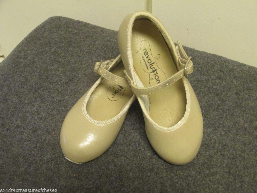 Little Girls Revolution Tan Leatherette Tap Dance Shoes Sz 8 Group Dance Class
