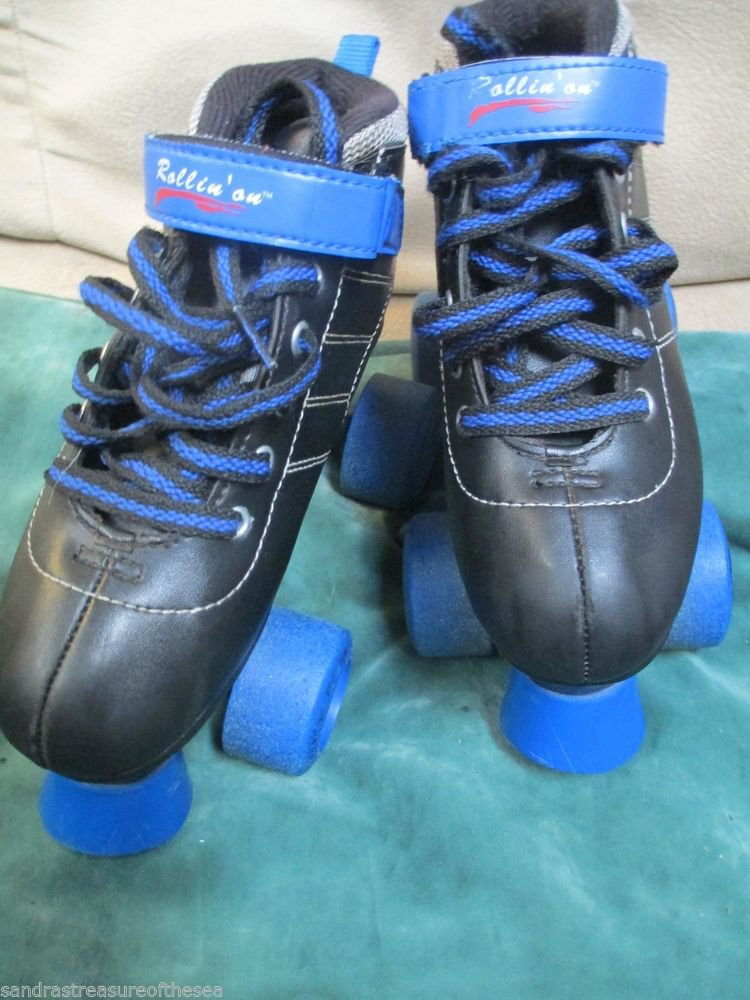 Unisex Childs Twister Skates Sz 1 Black Blue Trim Youth Indoor Outdoor Skates