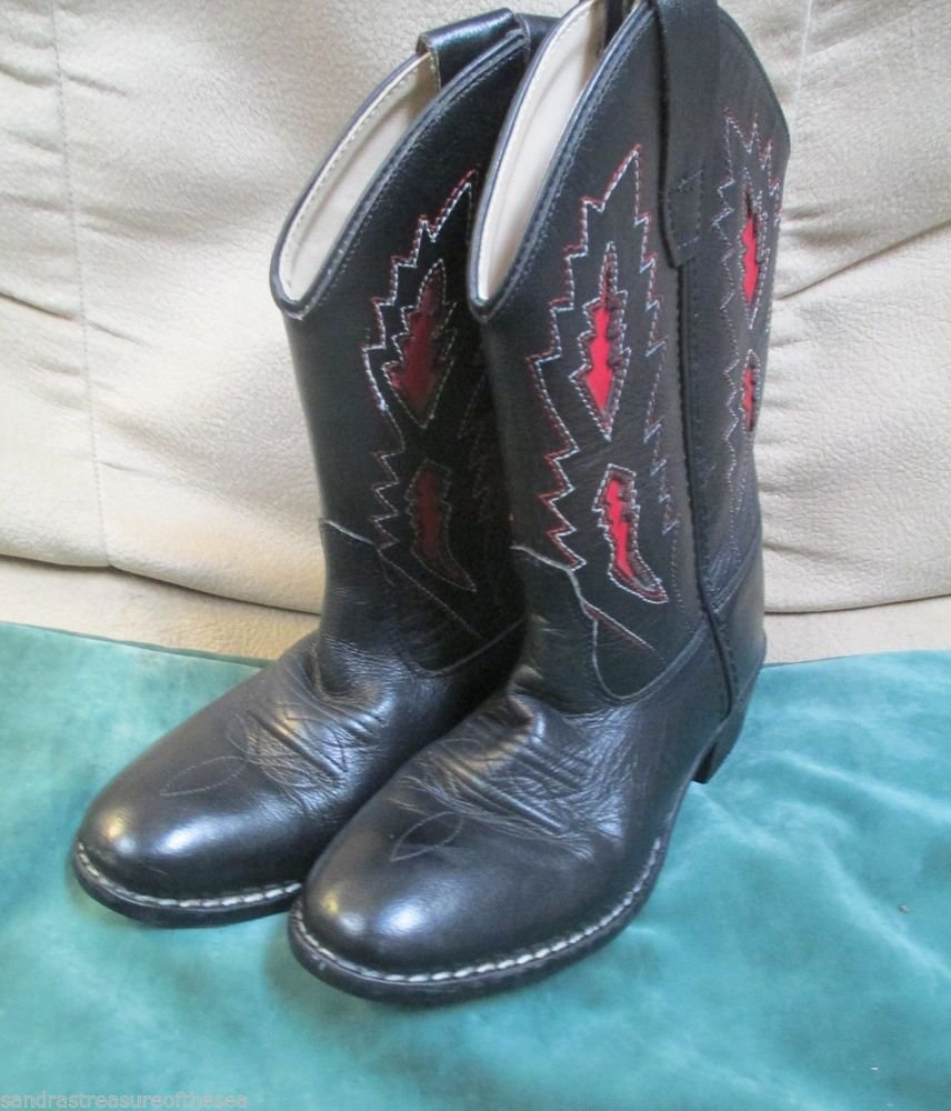 Boys Cowboy Boots Sz 13 M Black W Red Design Old West Slip On Fun Boots