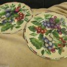 Two Sakura NY Excell Sonoma Fruits Stoneware Grape Plum Salad Plates Oneida Ltd