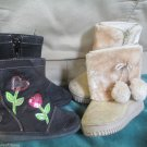 Girls Toddler Sz 6 Boots Black  Garanimals Sparkle Hearts And Tan Furry Style