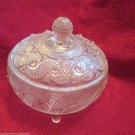 Vintage Avon 3 Toed Glass Candy Dish Swirl and Diamond by Fostoria Glass