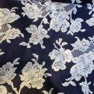 Cranston Print Works Schwartz Liebman TX  Cream Floral on Black 6 Yd Quilting
