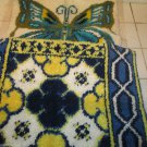 Two Vintage Finished Latch Hook Rugs Wall Hangings Butterfly And Art Deco Retro