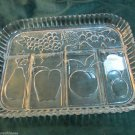 Vintage Indiana Glass Clear Fruits Five Part Relish Serving Tray Apples Grapes