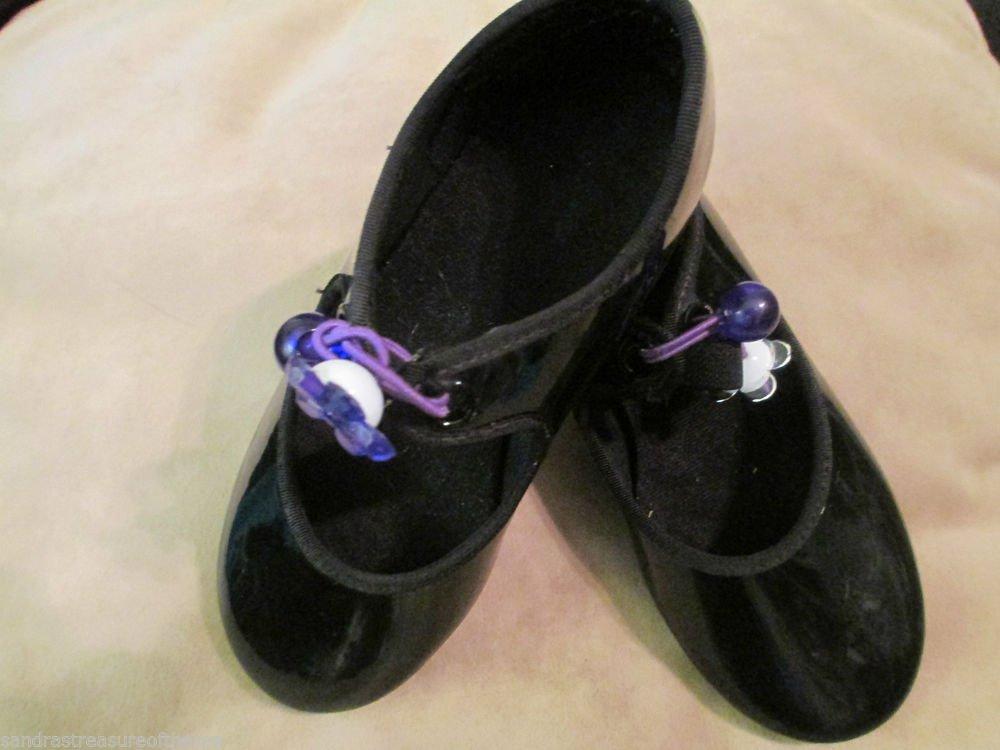 Girls Capezio Black Patent Tap Dance Shoes Tap Jazz Ballet Group Dance Class 10M