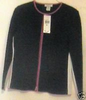 Garfield and Marks Black and Red Trim Zip  Front  Sweater Sz Med  Black NWT