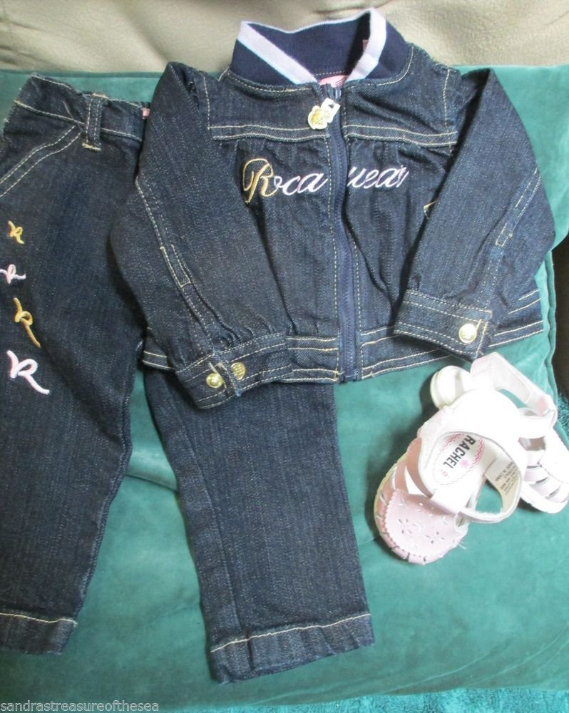 Cute Girls Rocawear Set Denim Jacket W Jeans 6 Months Rachael Pink Sandals Sz 3
