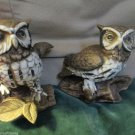 Vintage Homco Home Interiors Bisque Horn Rimmed Owl Figurines Statues 1114
