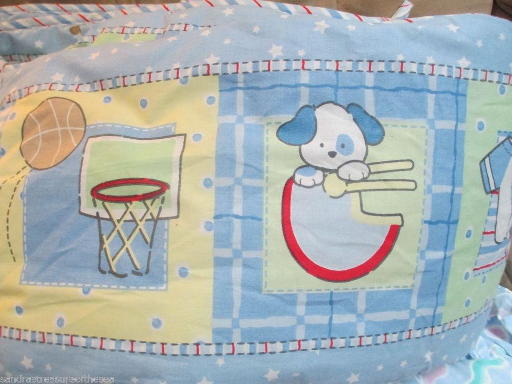 Cute Blue Sports Puppy Dog Nursery Standard  Crib Bedding Bumper And Sheet