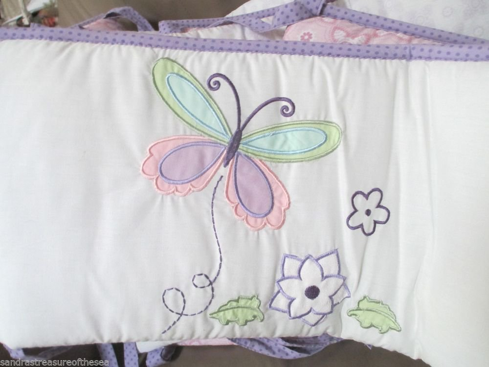 4 Pc Tiddliwinks Baby Standard Crib Bumper Purple Pink Plum Butterfly Flower