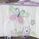 4 Pc Tiddliwinks Baby Standard Crib Bumper Purple Pink Plum Butterfly Flower