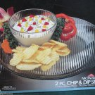 Vintage Anchor Hocking Clear Glass Monaco Chip and Dip Set in Box