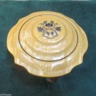 Gold Frosted Glass Three Footed Powder Jar With Gold Celluloid Lid Black Design