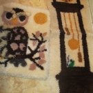 Two Vintage Finished Latch Hook Rugs Wall Hangings Hickory Dickory Dock Wise Owl