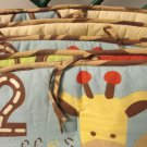Cute Jungle Safari Animal Four Piece Crib Bumper 1 Elephant 2 Giraffes 3 Monkeys