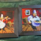 Home Decor Framed Tile Plaque Two Fat Chef Pictures Pasta Wine Cheese Food Manga