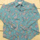 Panhandle Slim Glitter Turquoise Western Print Shirt Sz M Girls Pearlized Snaps