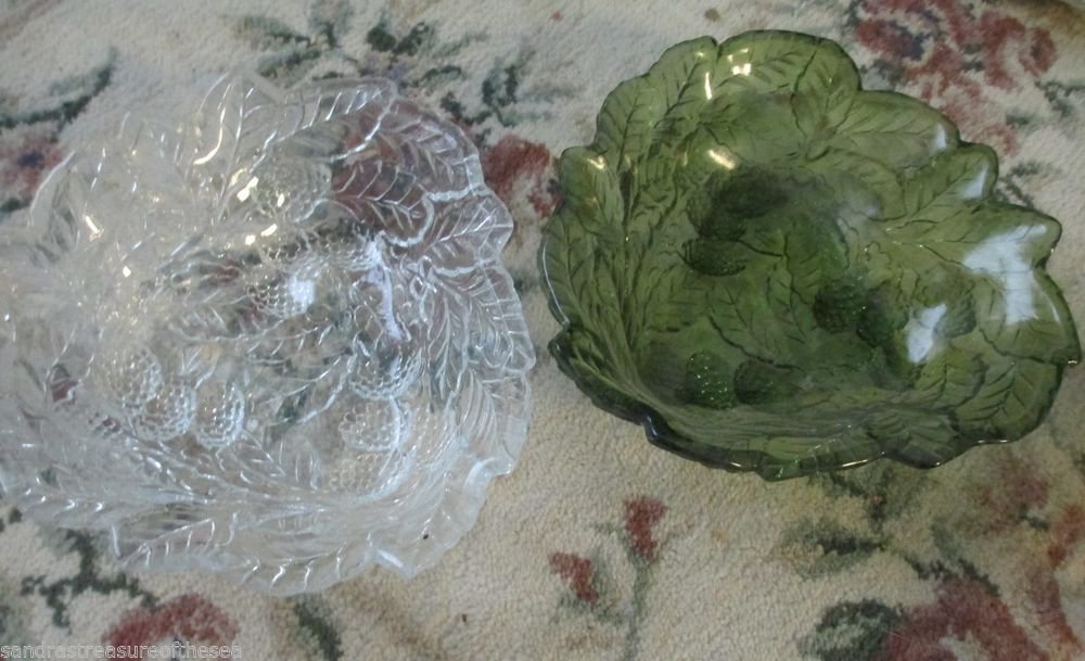 Two Indiana Glass Loganberry Clear 3 Sided Triangular Mint Candy Dish Bowl