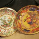 Two Vintage Daher Decorated Tinware Bowl Asian  Fruit Designs Made England 1971