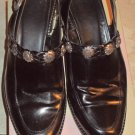 Ladies Brighton Black Leather Sling Back Shoe 9 1/2 M