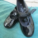 2 Pr Girls ABT  Black Patent Tap Dance Shoe W Leos Ballet Jazz Dance Class Sz 11