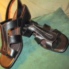 Life Stride Millie Wedge Sandal Black 7 1/2 Med NEW Leather Upper