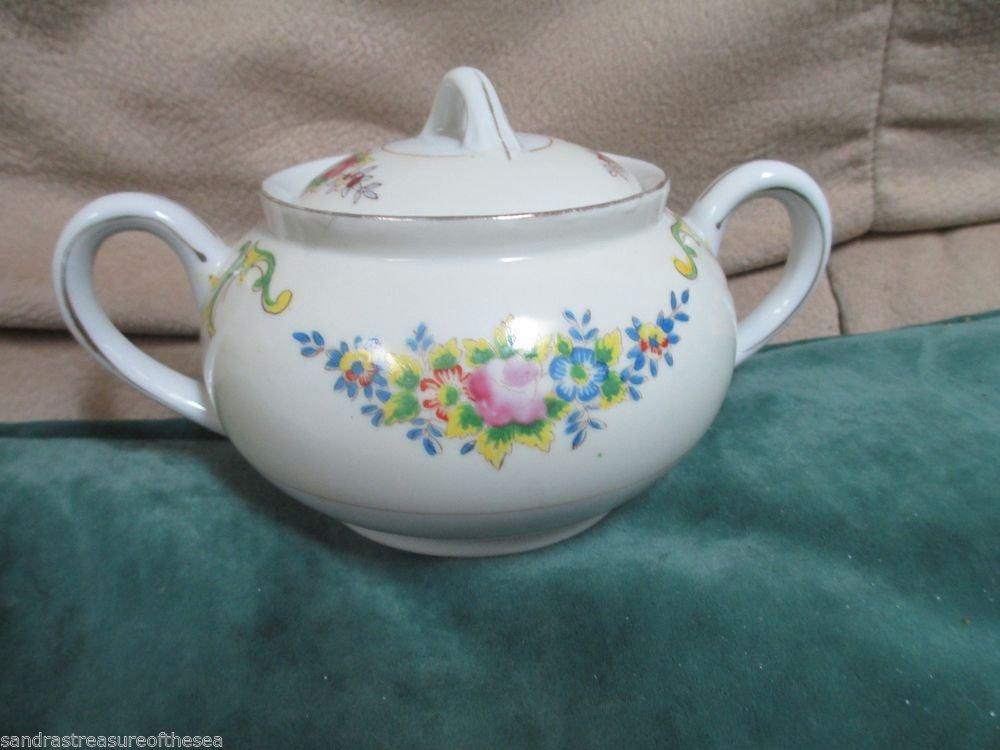 Vintage Porcelain Sugar Bowl Made In Japan Muiti Color Floral Gold Trim