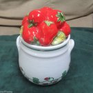 Majilly Colorful Whimsical Canister Sugar Bowl Strawberries Handmade Italy